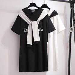 5xl 6xl verão tamanho grande carta solta impressão camiseta vestido feminino algodão casual plus size vestido tamanho grande falso vestidos de duas peças