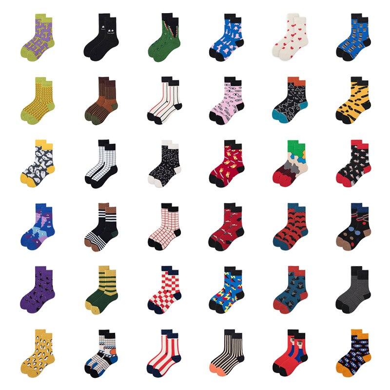 Женские носки, Забавные милые Мультяшные полосатые носки с пингвином, символом акулы, глазами, носом, квадратной планетой, счастливым японским Харадзюку, носки для скейтборда