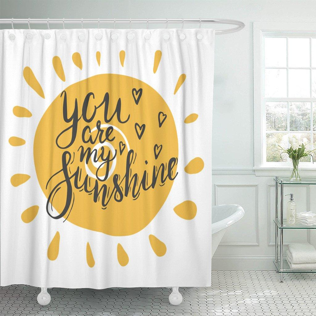 Rotulação você é meu sol brushpen mão para vilentine dia caligrafia inscrição banheiro cortinas poliéster à prova dwaterproof água
