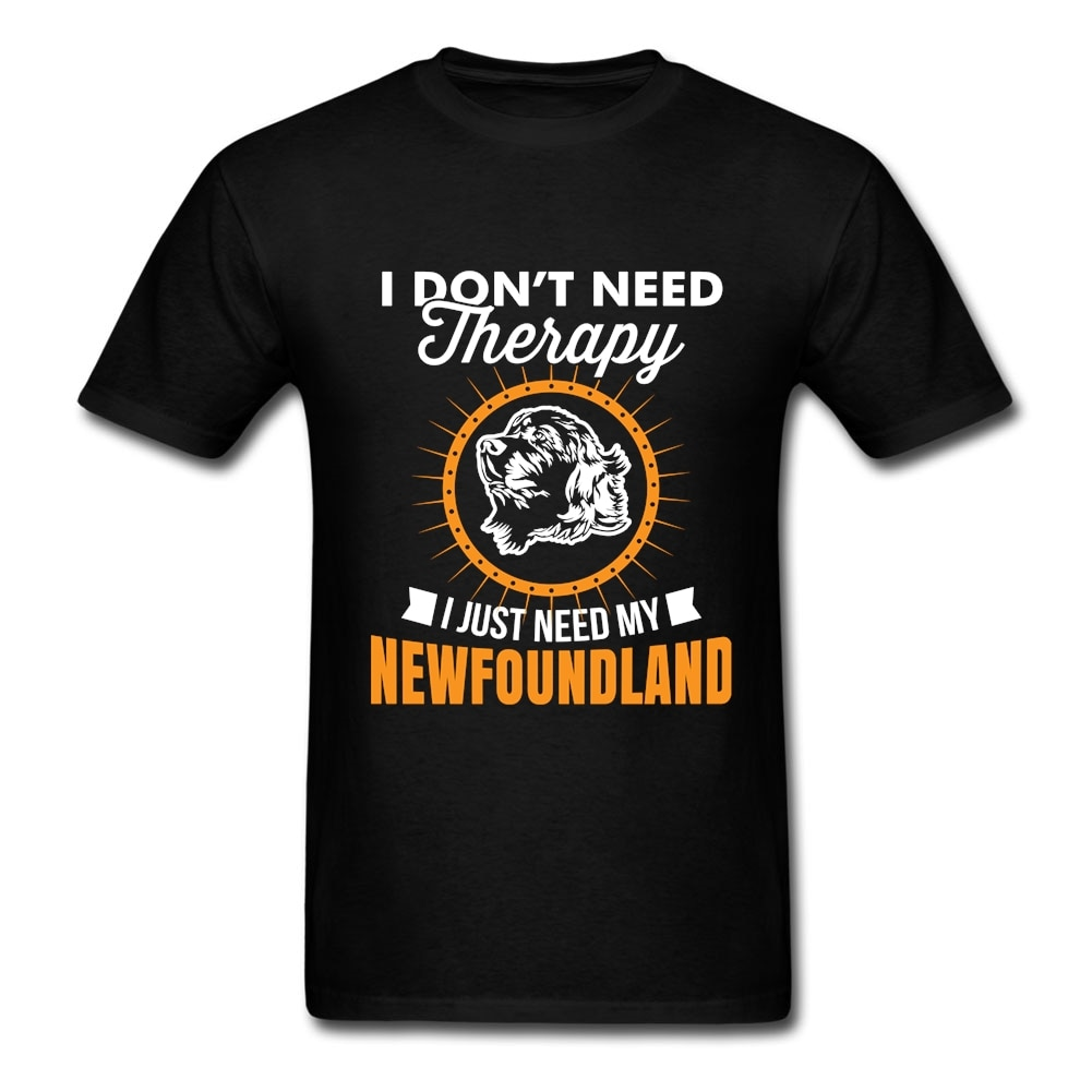 Camiseta de manga corta de perro Newfoundland, camiseta de Rock para adultos, de cuello redondo Camiseta 100% de algodón para hombres, camiseta para grupo