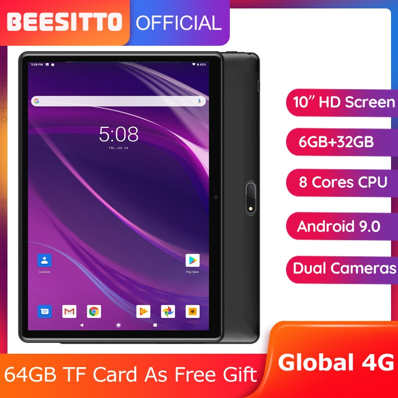 Tempered 2.5D Glass 10 inch Tablet PC Dual SIM 4G LTE 6GB RAM 32GB ROM Android 9.0 Octa-Core 5MP Bluetooth WiFi GPS +Gifts