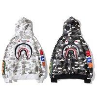 Hooded Cardigan and Fleece Shark Head Sweatshirt Terry Fabric Black & White M-3XL
