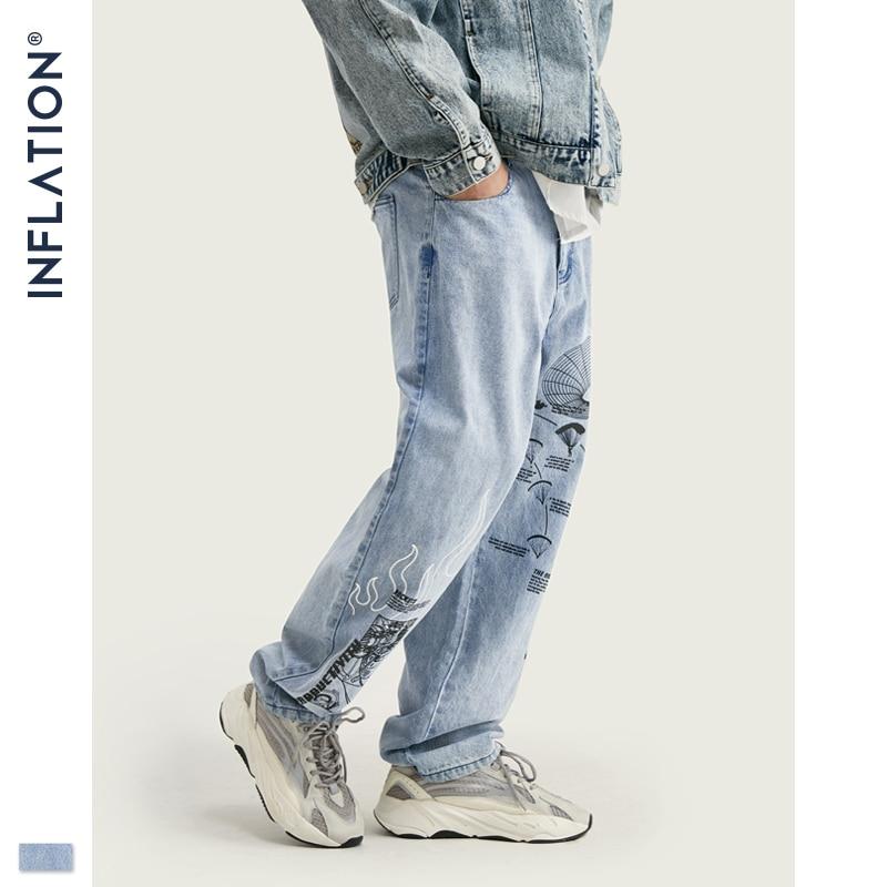 Pantalones vaqueros de moda inflados para hombre azul con estampado gráfico de Graffiti para hombre Pantalones vaqueros rectos sueltos Streetwear para hombre 2019 Jeans 93433W