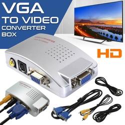 VGA на коммутатор с разъемами тюльпан коробка, от ПК к ТВ AV монитор Композитный S видео конвертер адаптер