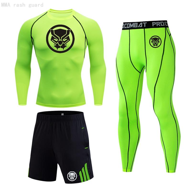 Kit de treinamento masculino curto t-shirts leggings esportes shorts pantera preta gym executar collants estiramento roupas esportivas mma compressão