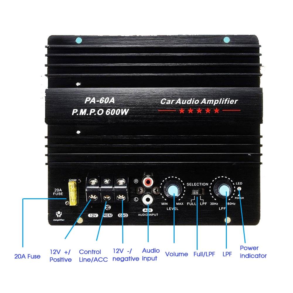 جديد 12 فولت 600 واط PA-60A المتكلم مضخم الصوت باس وحدة عالية الطاقة اكسسوارات السيارات الصوت أحادية قناة دائم ضياع مكبر للصوت مجلس