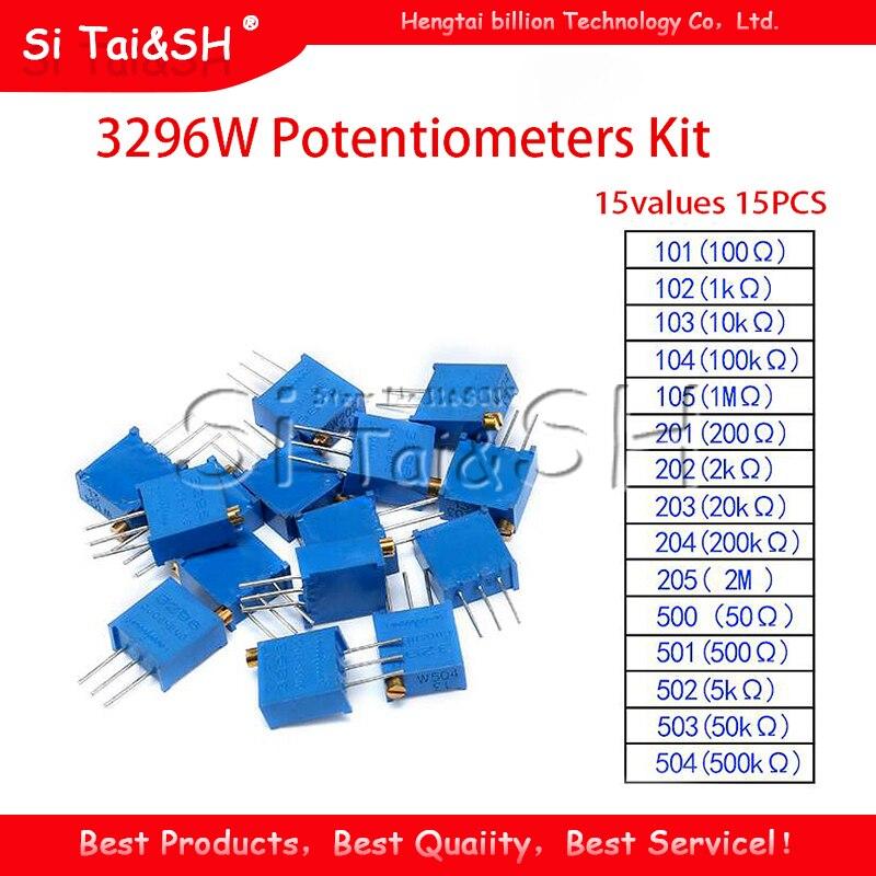 15 valores 15 peças de potenciômetros 3296w, kit, 101, 102, 103, 104, 105, 201, 202, 203, 204, 205, 500 501 502 503 cada 1 peça