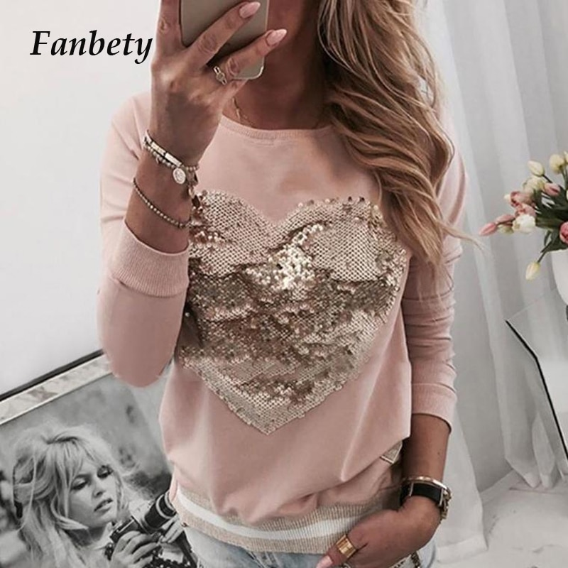 Senhoras miçangas kawaii coração padrão blusa camisas femininas outono lantejoulas lábios imprimir manga longa pullovers feminino casual o-pescoço topos
