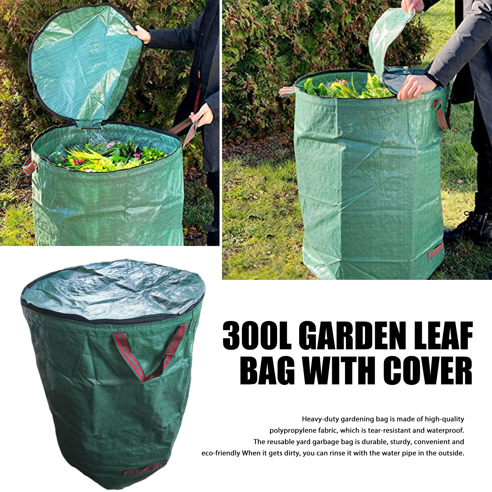 300L Garden Garbage Collection Bag With Lid Large Capacity Reusable Leaf Sack Trash Can Garden Waste Container Storage Bag Tool