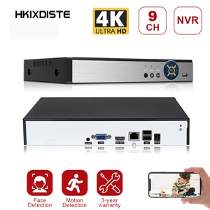 9CH*4K H.265/H.264 Support 1 SATA NVR Network Digital Video Recorder Max 8TB XMEYE CMS with Cable P2P Cloud Mobile