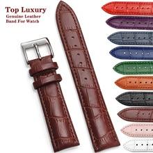 Correa de reloj de cuero genuino, accesorio de pulsera de alta calidad con hebilla de acero, herramienta, 12/14/16/18/20/22/24mm