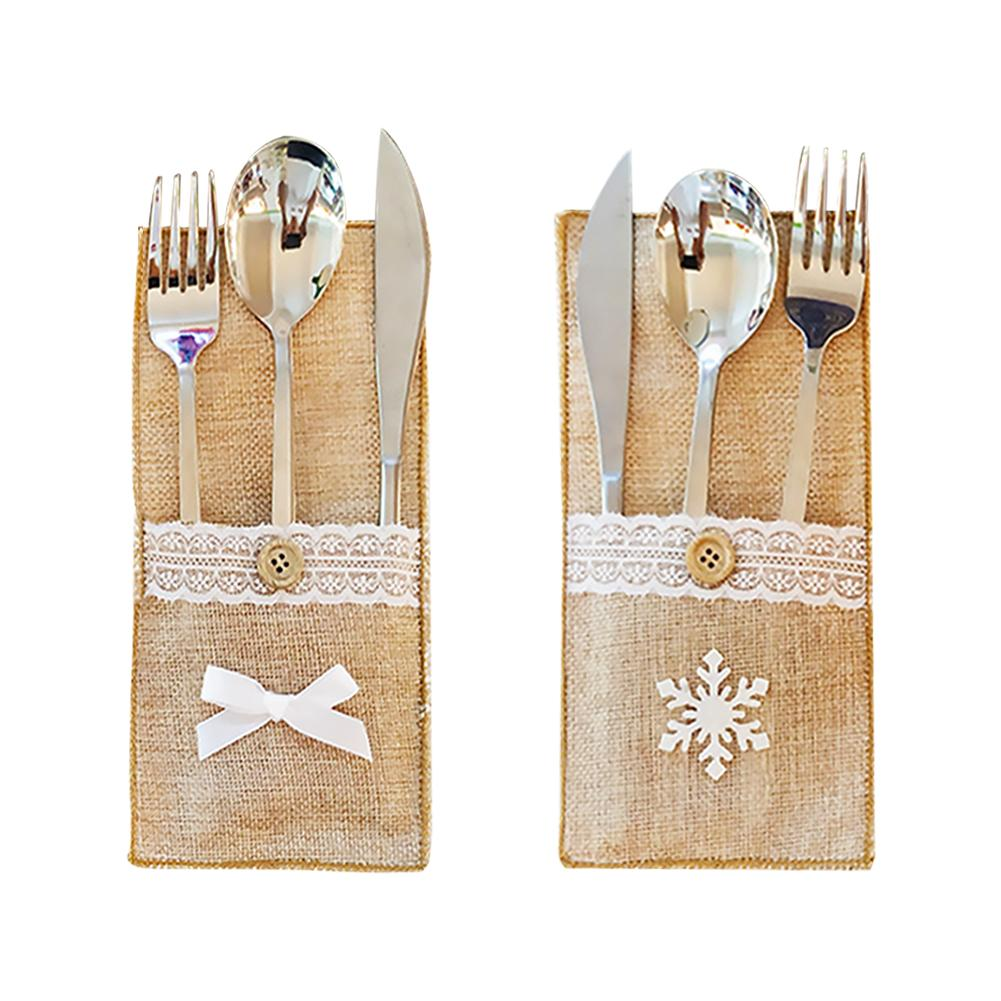 Cubertería de cocina cubierta de juego de vajilla con bolsillos decoración navideña para restaurante Hotel Cafe sin incluir cubiertos