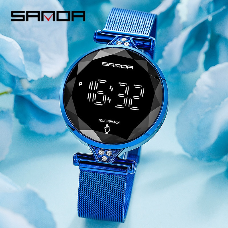 Sanda Gold Fashion Digital Watch For Women Men Stainless Steel Strap Diamond Clock Ladies Lover Electronic Watch Reloj Mujer enlarge