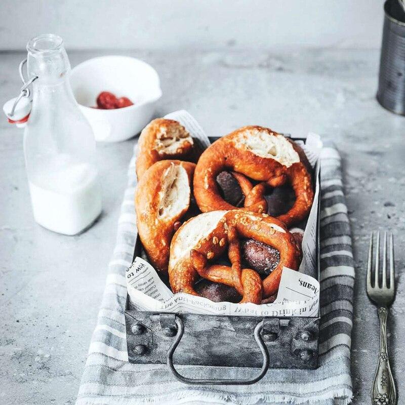 Прямоугольные французские кантри античные железные поддоны ретро металлические поддоны для хранения поднос для завтрака хлеб тарелка для ...