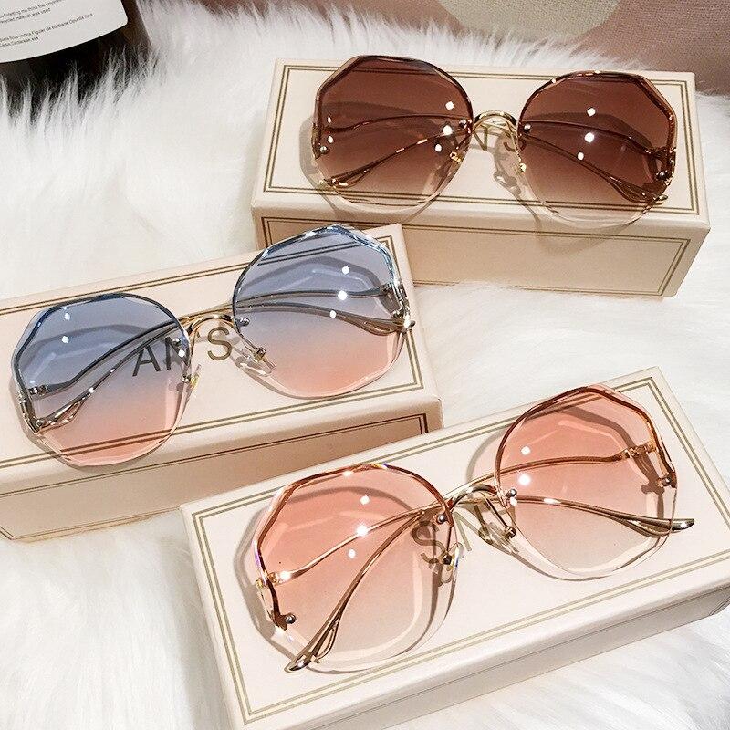 Arvin 2021 Fashion Tea Gradient Sunglasses Women Ocean Water Cut Trimmed Lens Metal Curved Temples S