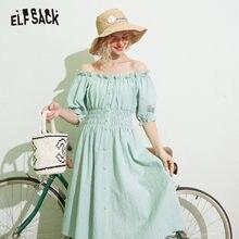 ELFSACK bleu Plaid Chic bouton taille haute décontractée épaules dénudées robes femmes 2020 été ELF Vintage coréen dames robe de soirée