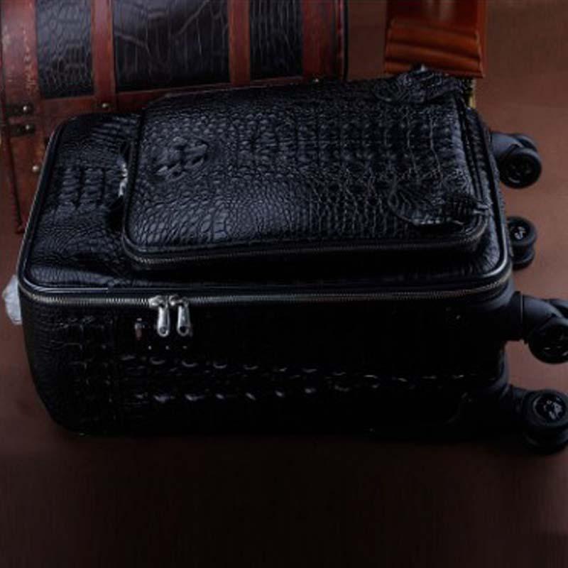 ourui crocodile  Pull rod box  four-wheel  Genuine crocodile  leather  luggage men travel  box Universal wheel