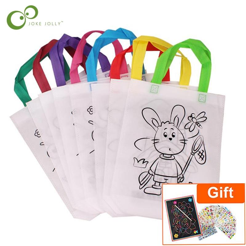 6 шт. антистресс Пазлы обучающая игрушка для детей Сделай Сам экологичный граффити сумка Детский сад ручная роспись материалы GYH