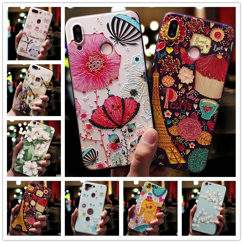 Para Huawei Honor 8A funda 3D flor relieve silicona teléfono casos para Huawei Honor 6C 6CPro 6A 6X funda suave Honor 6C Pro Honor 6x