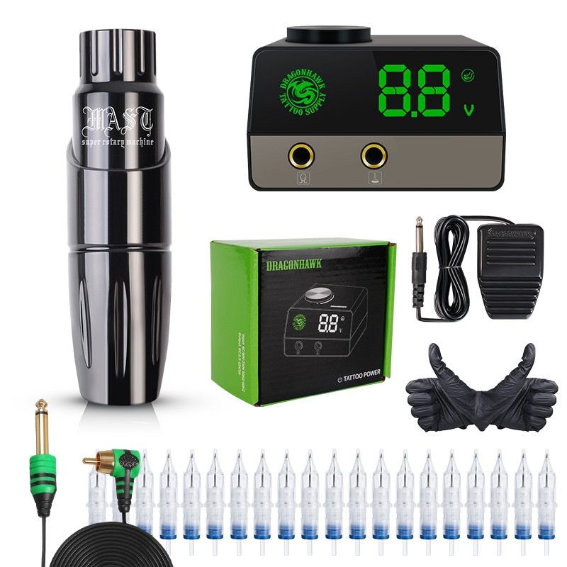 Dragonhawk Mast Tattoo Pen Machine Set Kit Motor Rotary Pen Permanent Makeup Set LCD Power Supply tattoo rotary machine pen style set tattoo kit lcd power pedal tattoo supply free delivery permanent makeup machine assortment