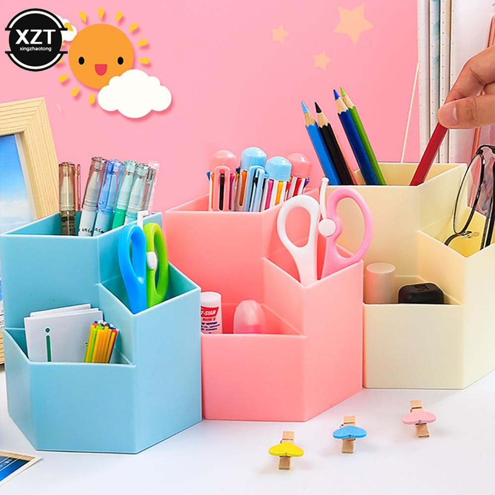 Многофункциональный настольный держатель для ручек, пластиковый органайзер, цветной, для школы и офиса