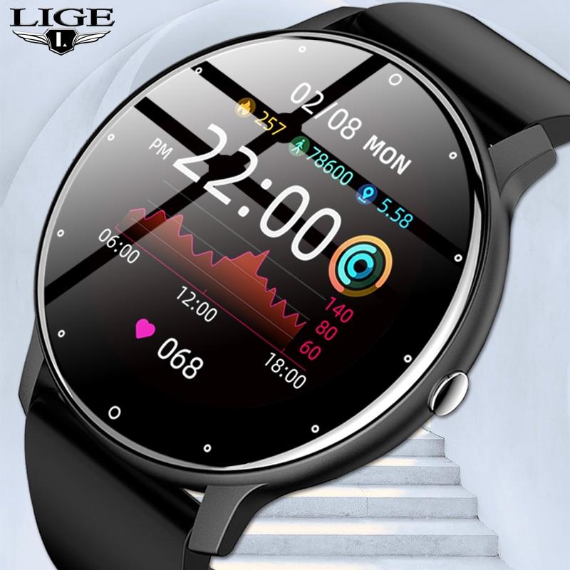 LIGE 2021 Fashion Smart Watch Men Fitness Bracelet Heart Rate Blood Pressure Monitoring Sports Track