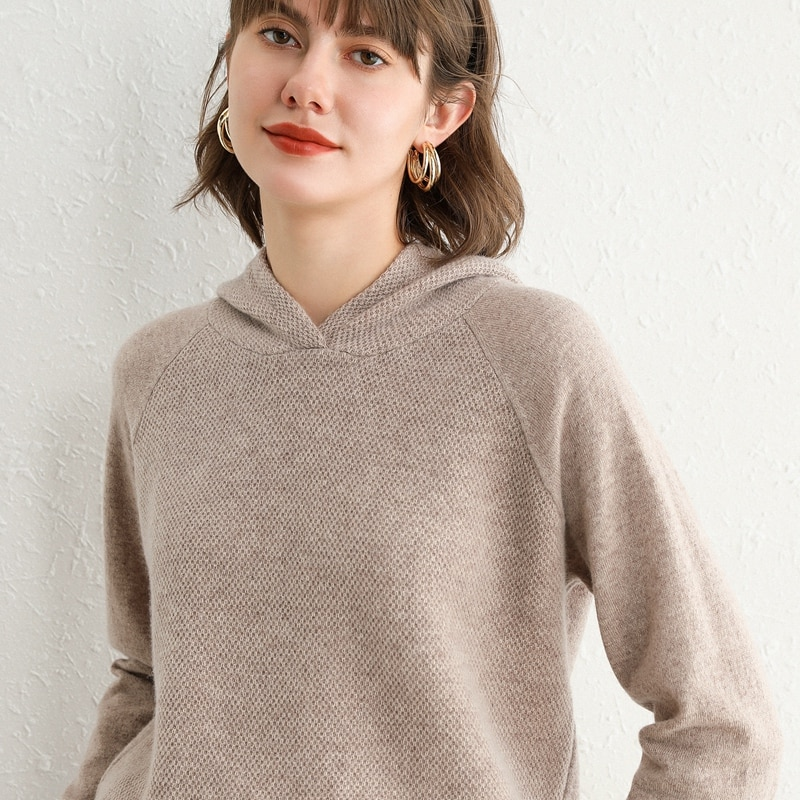 Hooded cashmere sweater women's 2020 new autumn and winter bottoming hooded sweater 100 pure wool loose knit sweater