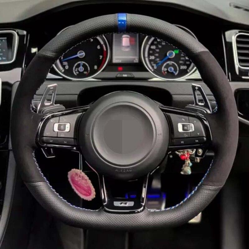DIY Car Steering Wheel Cover Soft Black Suede Black Genuine Leather For Volkswagen Golf 7 MK7 GTI R VW Polo Scirocco 2015 2016