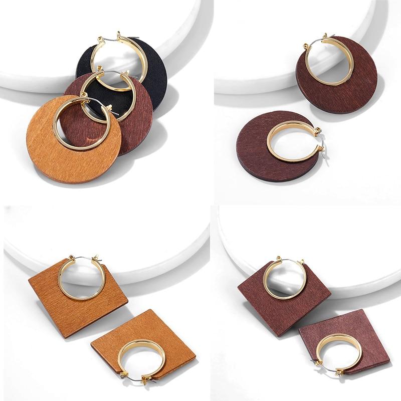 KISSWIFE 2019 nuevos pendientes geométricos de madera marrón colgantes para las mujeres de moda Bohemia Brincos pendientes declaración joyería