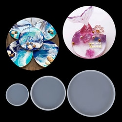 Moldes redondos de resina epóxi 1 peça, molde para artesanato e artesanato, de silicone, para molde, joias, faça você mesmo