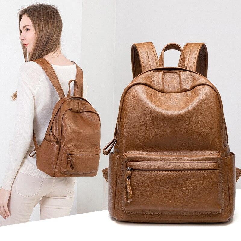 Модные вместительные кожаные рюкзаки хорошего качества, женские повседневные Рюкзаки, женские вместительные дорожные сумки через плечо