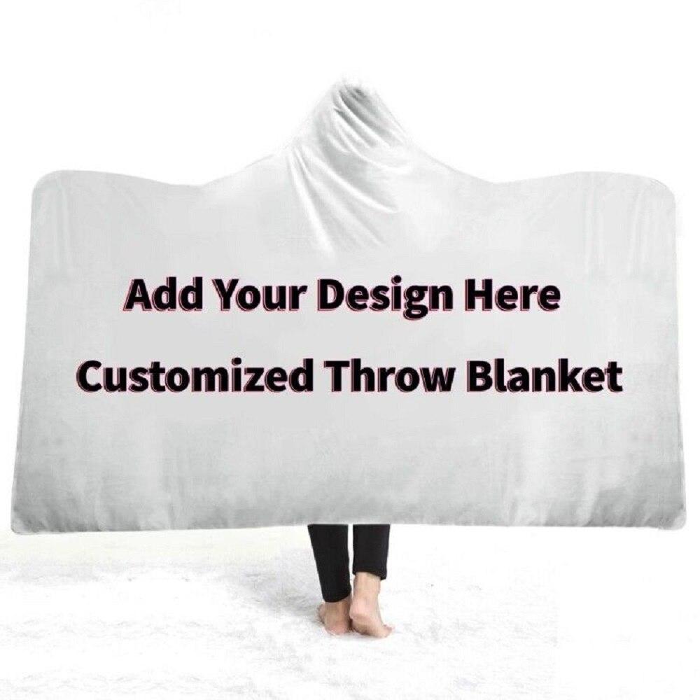 Manta de felpa estampada 3D con capucha para uso personalizado para adultos Manta polar de Sherpa para viaje en casa enviar imagen de 1028x1028P