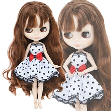 Hohe Qualität Kleid für Blythe Puppe Weiß Schwarz Spitze Rot Bowknot Hochzeit Party Tragen Kurze Kleid Puppe Kleidung Zubehör Spielzeug