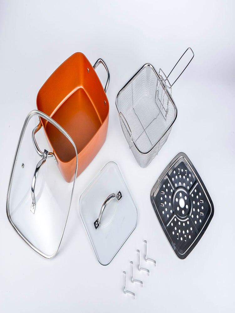 Olla cuadrada para sopa, juego de utensilios de cocina cuadrados, juego de sartenes cuadrados, utensilios de cocina de acero inoxidable, cocina antiadherente