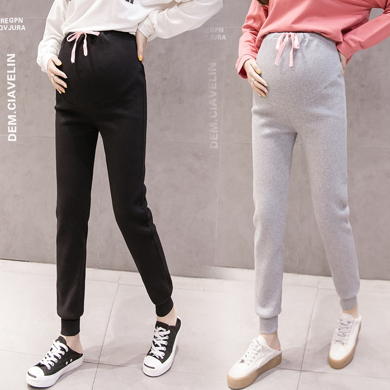 1099 2021 Spring Knitted Cotton Maternity Casual Pants Adjustable Elastic Waist Belly Pants Clothes for Pregnant Women Pregnancy
