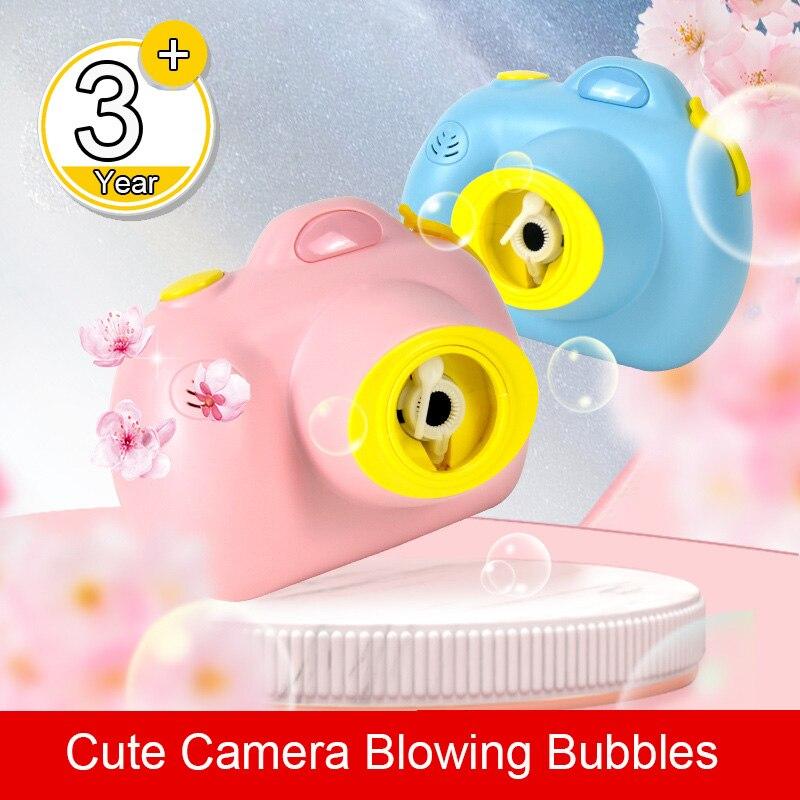 Piscando soando bolha arma câmera modelo dos desenhos animados porco bolha soprando máquina elétrica bolha ao ar livre crianças brinquedos com correias
