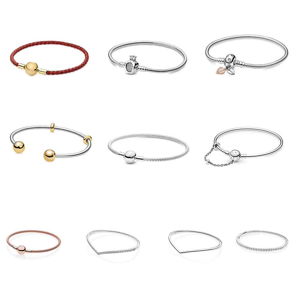 925 Sterling Silver Bracelets Bangles Diy Rope Chain Rose Gold Color Round Buckle For Women Party Birthday Fine Jewelry