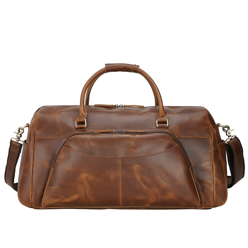 Men Travel Duffle Bags Real Leather 2021 Large Capacity Clothing Casual Tote Hand bag Male