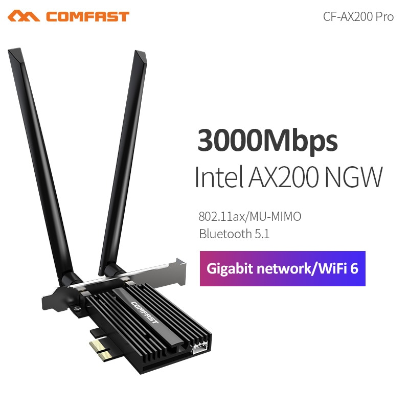 Newest Intel AX200 WiFi6 Wireless PCI-E Network Card Dual-Band 2400Mbps 2.4G/5.8GHz 802.11ax for WIN10 64bit BT 5.1
