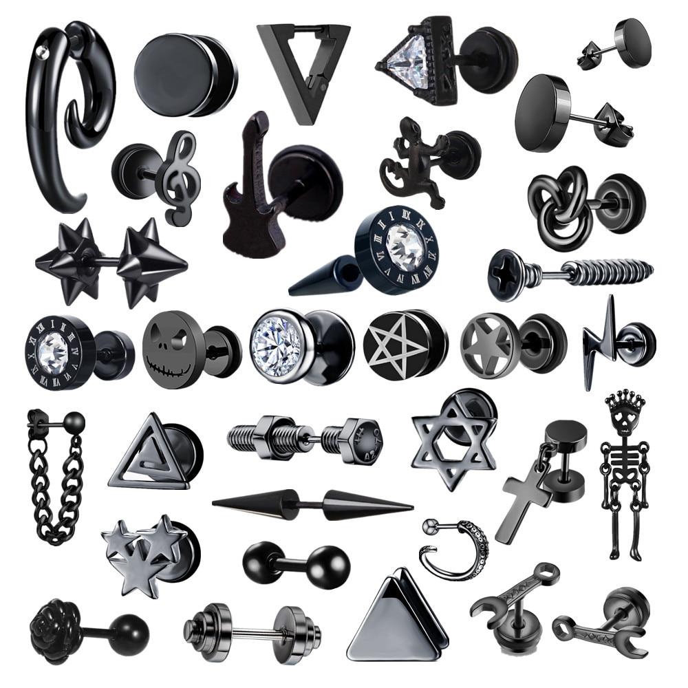 Small Black Punk Stud Earrings For Women Men Boy 2020 New Fashion Zircon Geometry Stainless Steel Jewelry Accessories