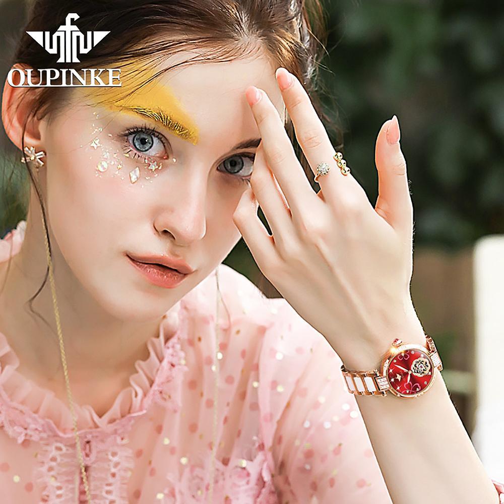OUPINKE Ladies Fashion mechanical watch diamond ceramic Sapphire Automatic Waterpoof Flash diamond Watch Women Gifts enlarge