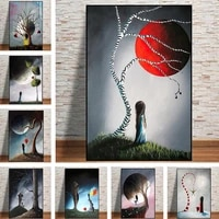 abstract girl tree red earth canvas painting nordic posters and prints wall erback art decor pictures for living room decoration