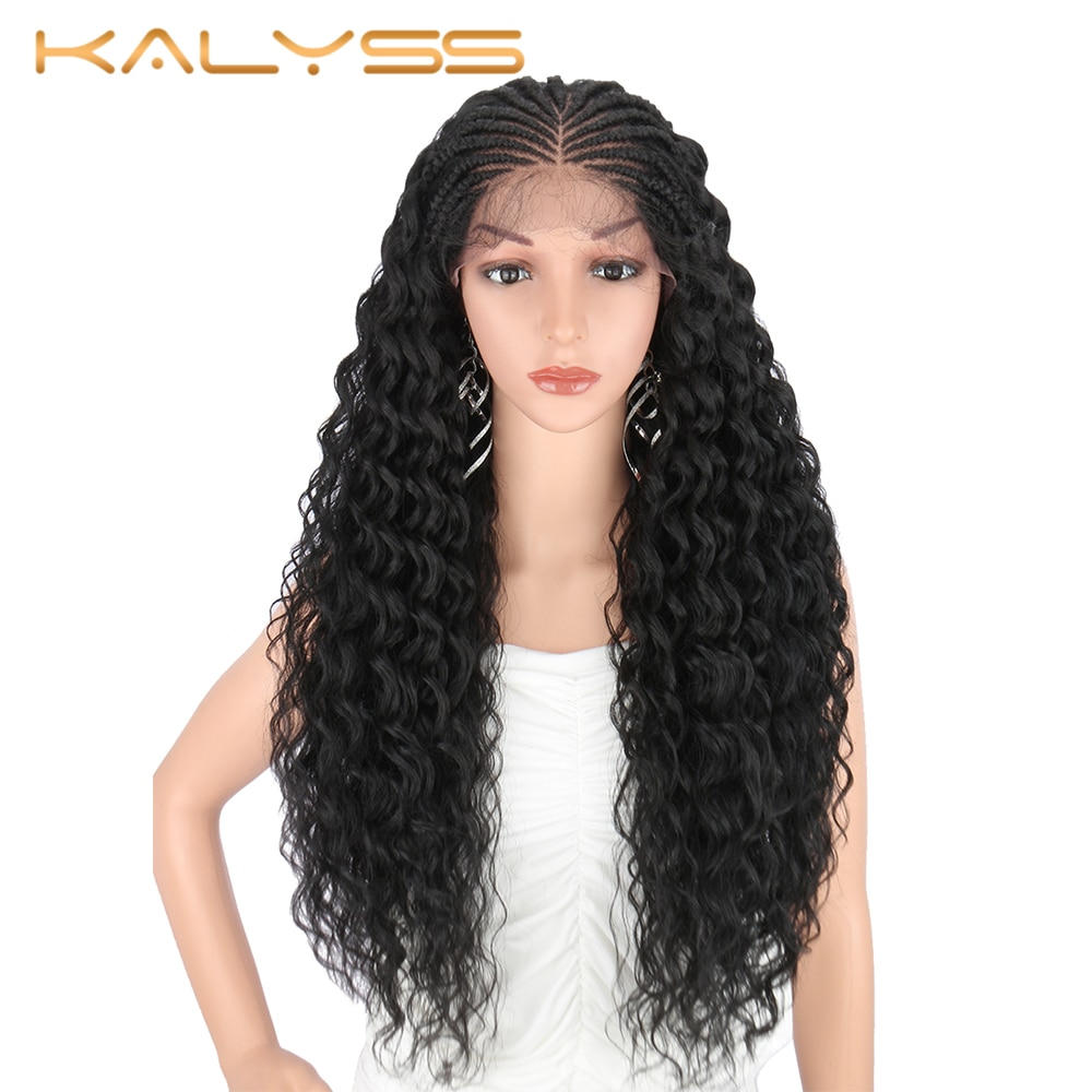 Kalyss 28 Inches Synthetic Lace Front Hand Braided Wigs With Baby Hair Curly Wavy Cosplay For Black Women