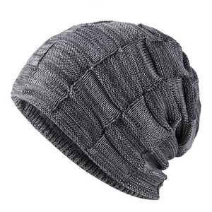 2021 Autumn/winter New Versatile Two-color Square Pullover For Men Knitted Hat Plus Velvet Ear Protection To Keep Warm
