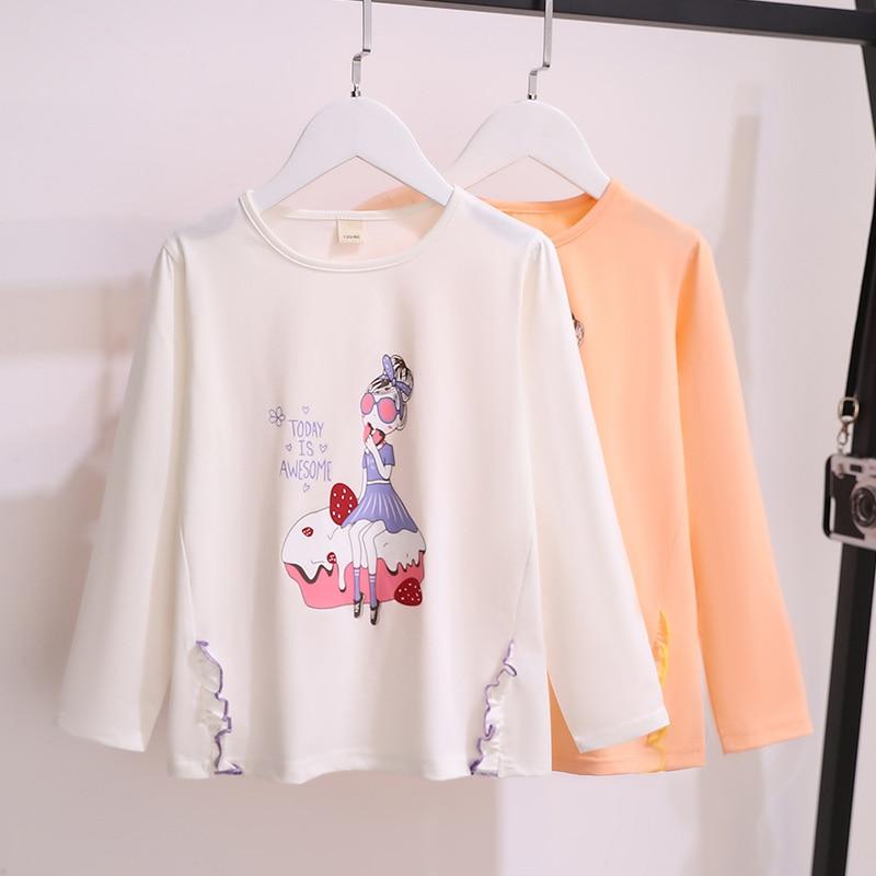 Camisetas de algodón para niñas pequeñas, Tops de manga larga con estampado...