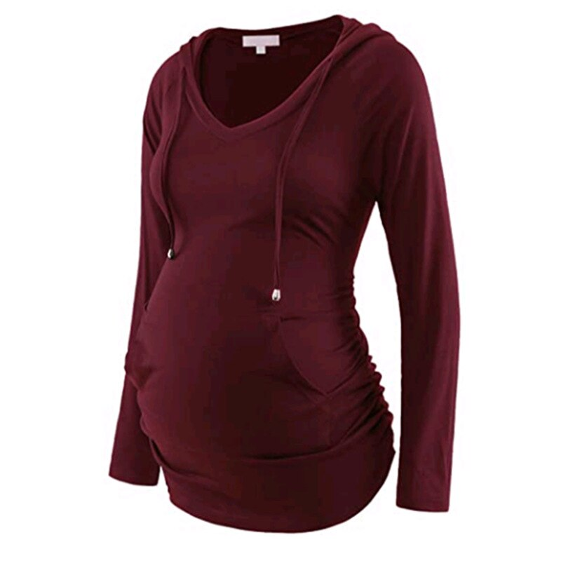 بلوزة الحمل للخريف بأكمام طويلة ، ملابس التمريض ، سترة الحمل برقبة على شكل v ، تي شيرت الركض المخطط