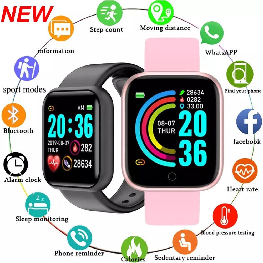 2021 Y68 ساعة ذكية رصد القلب اللياقة البدنية المقتفي مقاوم للماء الرياضة Smartwatch للرجال النساء الساعات D20S PK هواوي GT2 برو