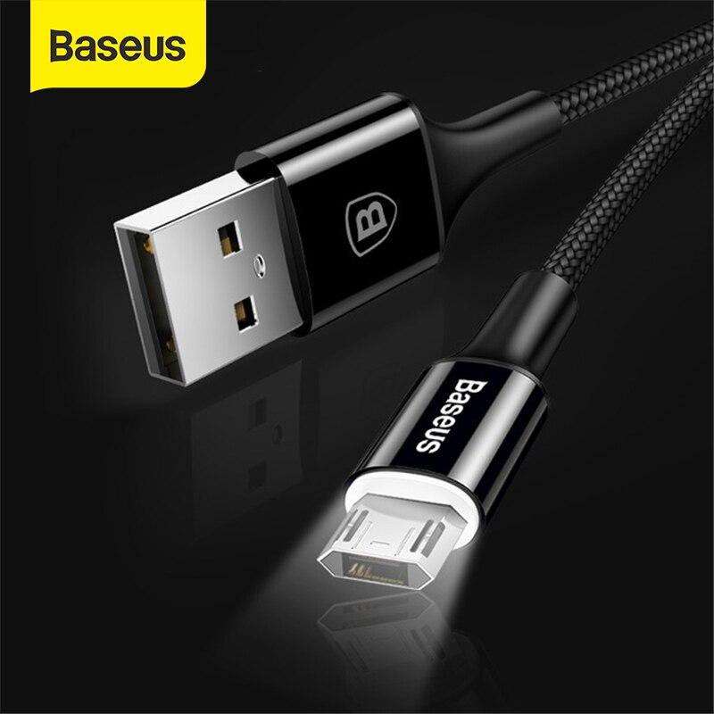 Câble Micro USB déclairage LED Baseus pour Xiaomi Redmi 4X Note 4 5 câble de chargement Micro USB réversible pour téléphone portable Samsung S7