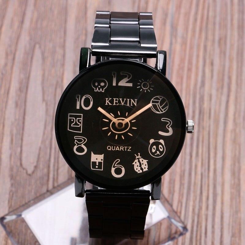 Reloj de pulsera de cuarzo para mujer, reloj de pulsera de cuarzo para mujer, bonito, novedoso, con número de dibujos animados, negro/marrón, analógico, correa de acero inoxidable, regalos para niñas