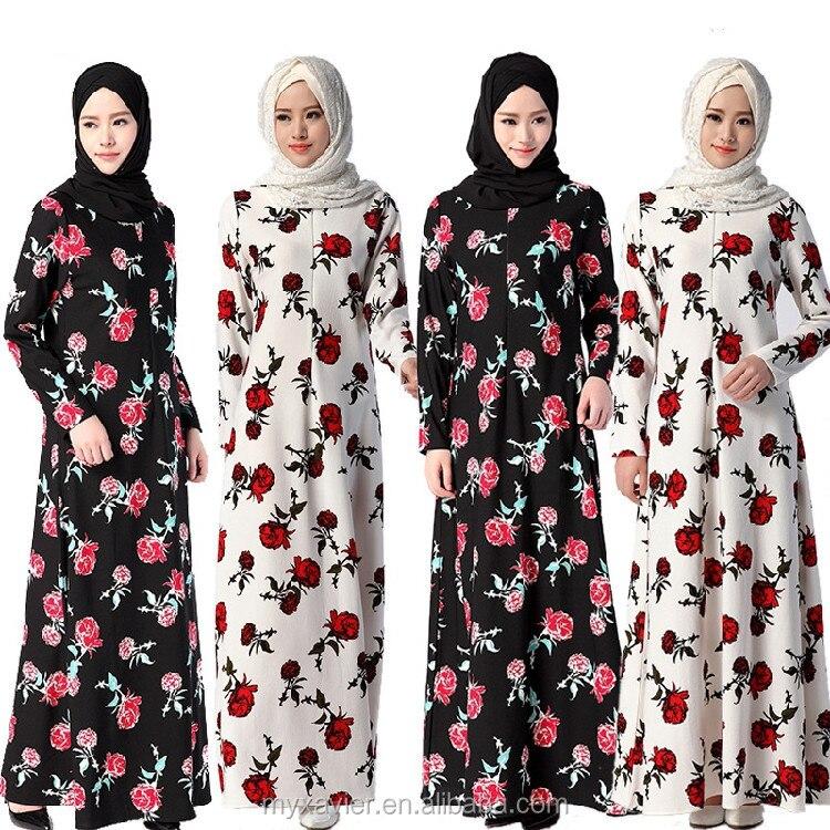 Мусульманское платье, модная абайя с цветочным принтом в Дубае, мусульманская одежда для женщин, платья макси
